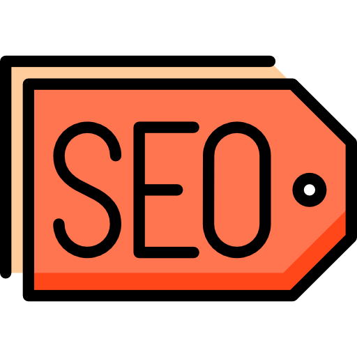 Icon of a price tag with the word SEO written on it