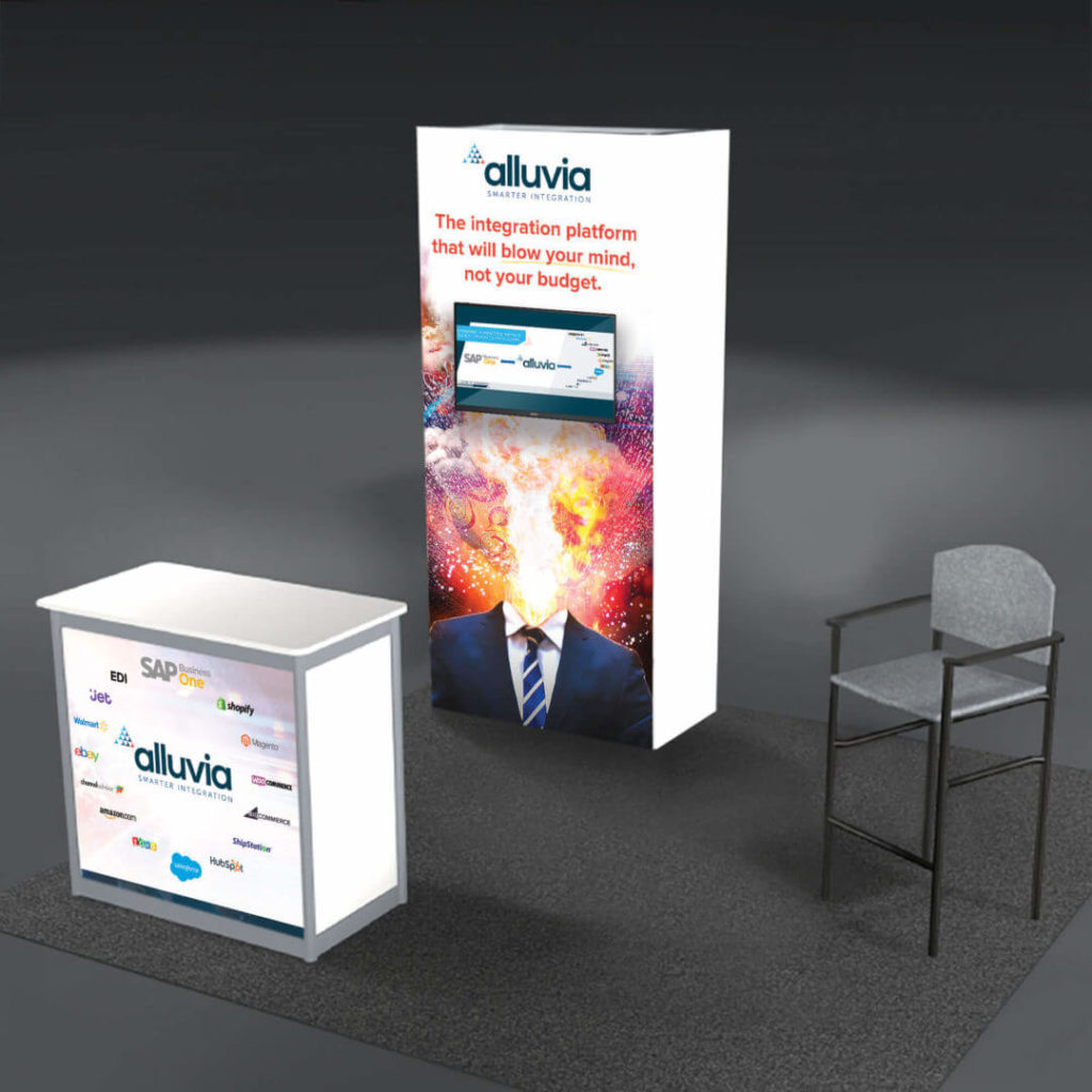 Alluvia integration platform marketing ads on a banner and a stand by a chair