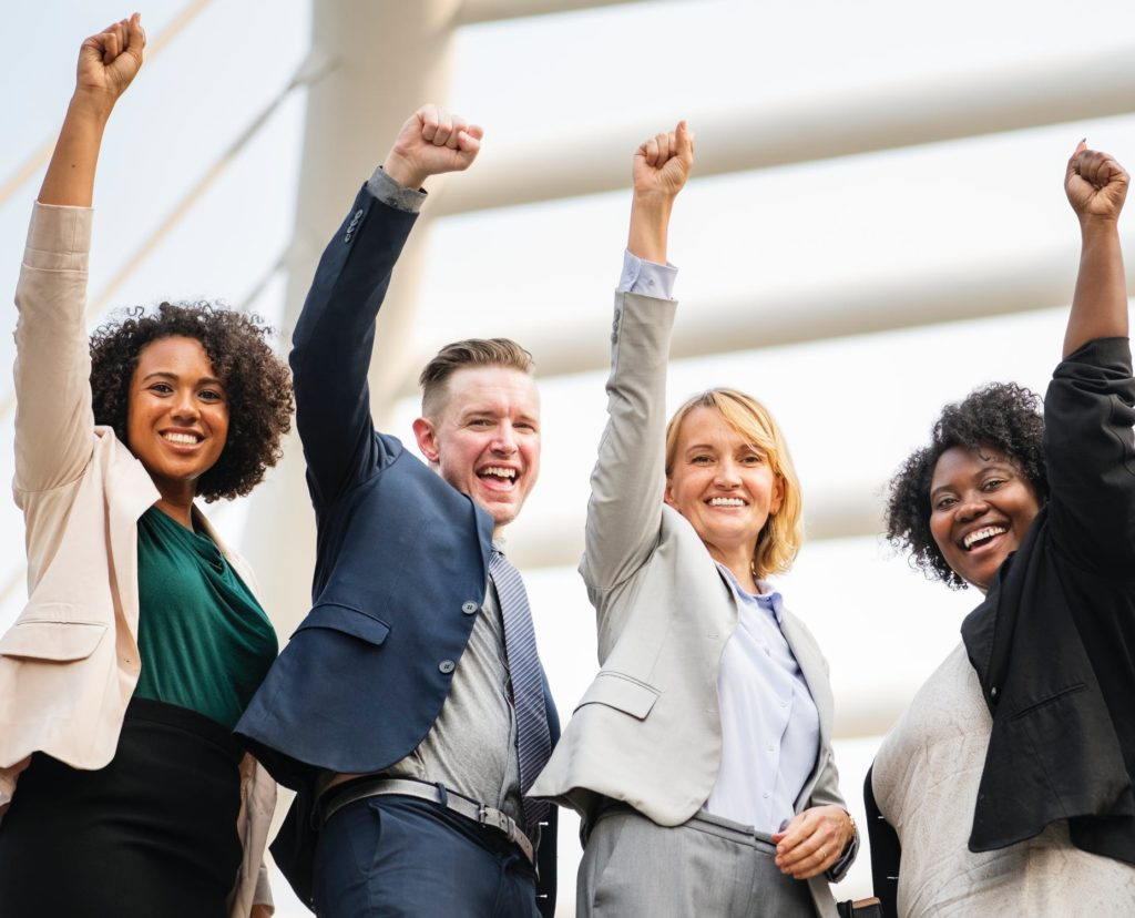 Photo of successful business people, happy with their marketing