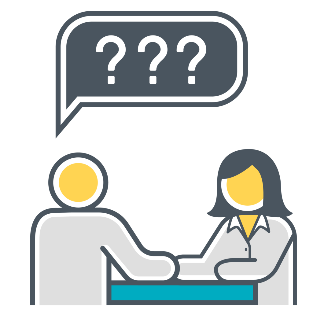 Icon showing two people with one person asking questions