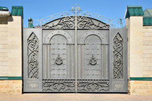 Iron gates with beautiful scrollwork on the gates