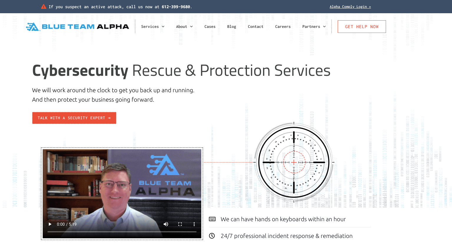 home page for Blue Team Alpha designed by Zhivago Partners