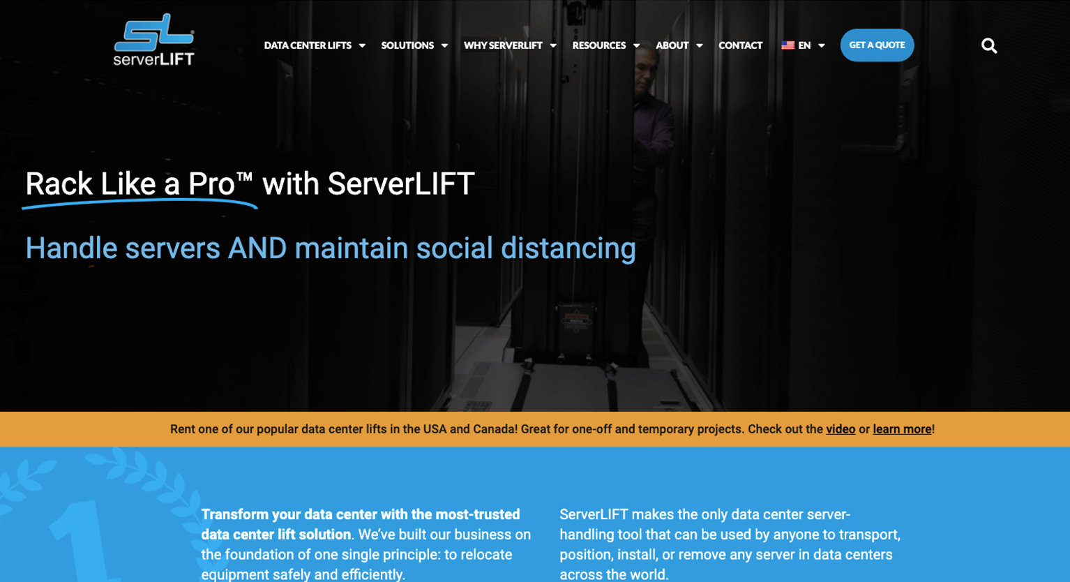Picture of ServerLIFT home page after redesign