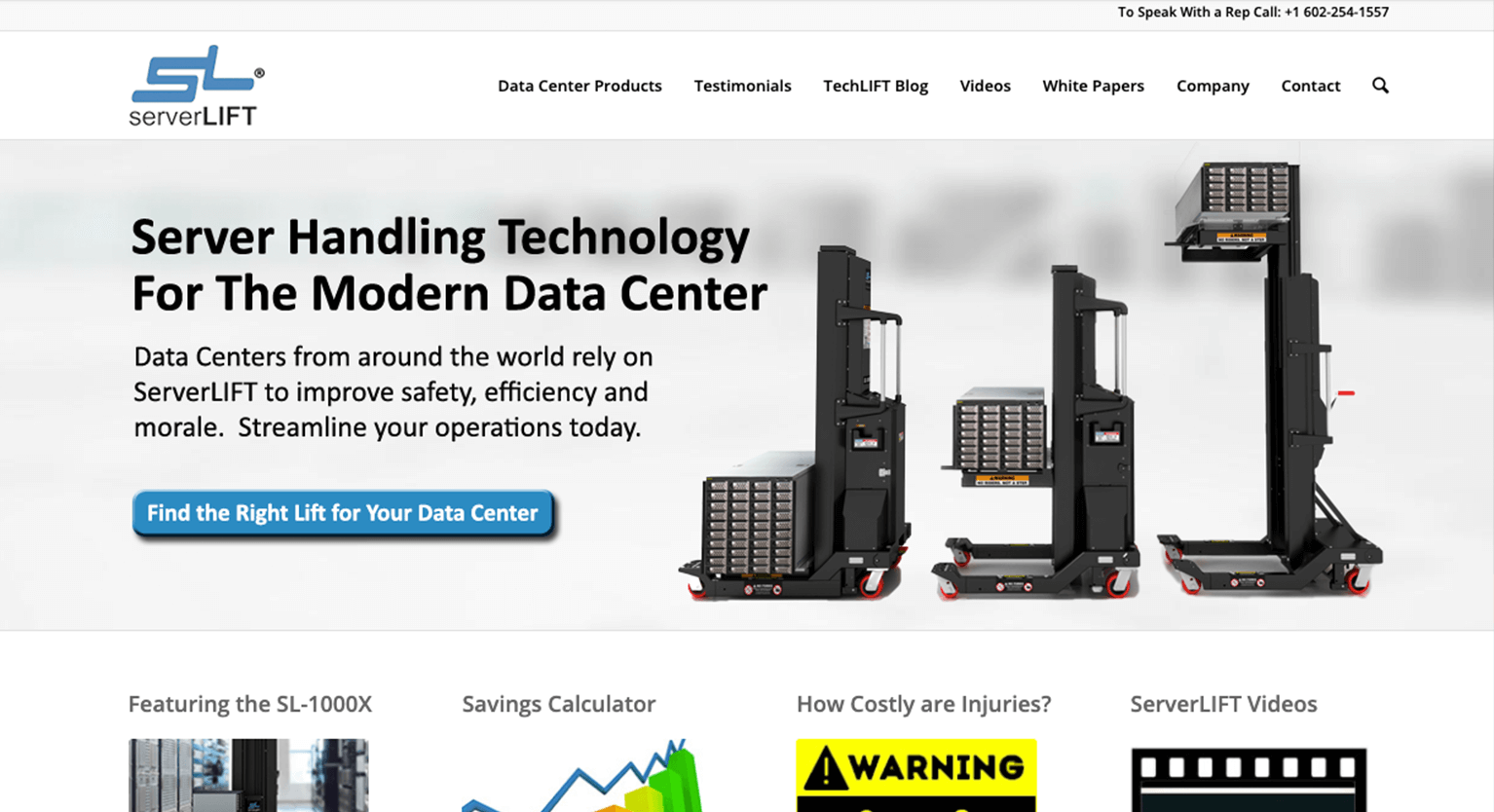 Screen grab of ServerLIFT home page before redesign