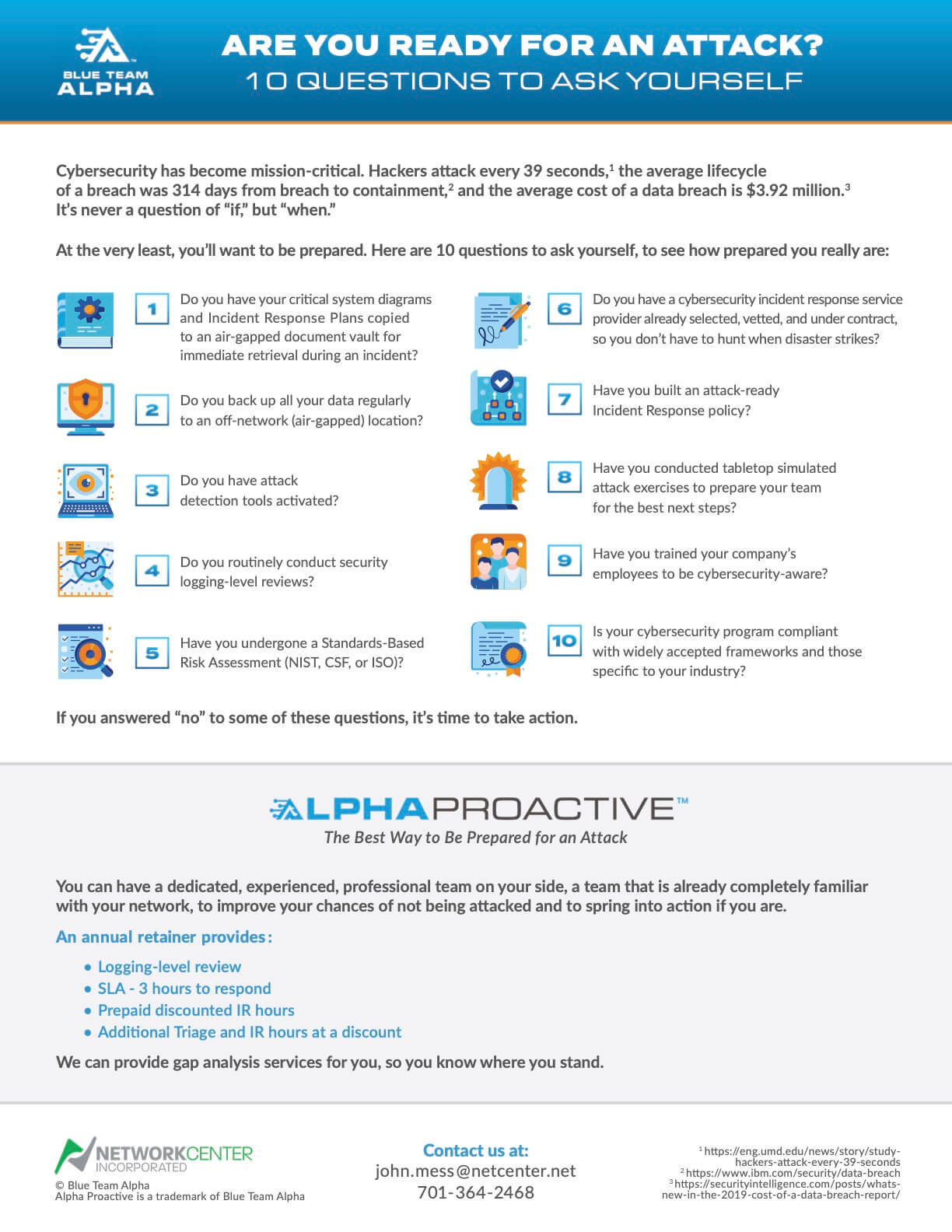 Sales Sheet for Blue Team Alpha produced by Zhivago Partners