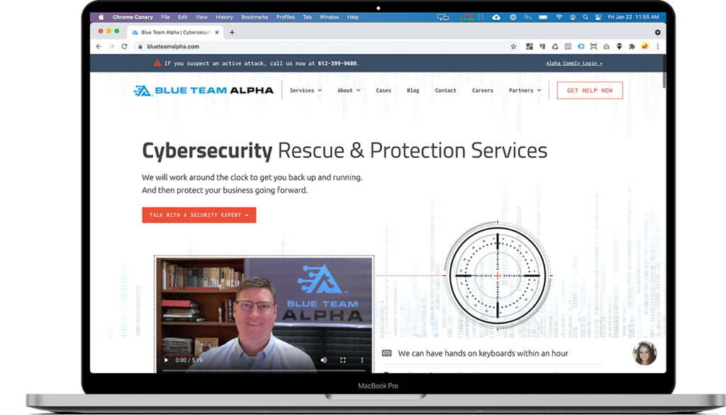Screen showing home page of Blue Team Alpha designed by Zhivago Partners