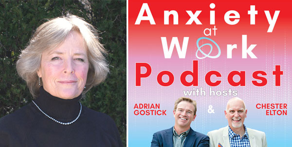 Banner showing Kristin Zhivago and hosts of Anxiety at Work podcast
