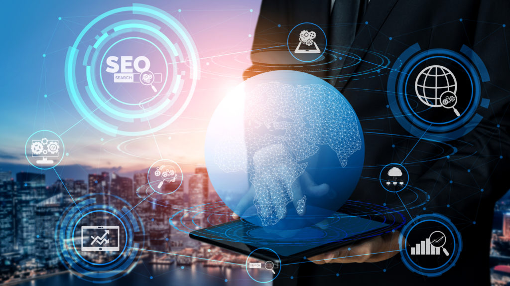 Illustration representing SEO with cityscape in background