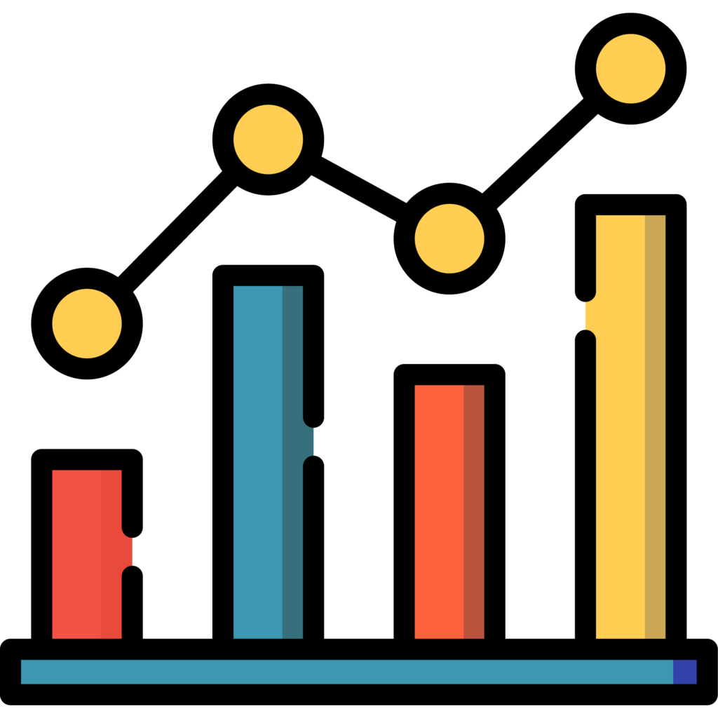 Icon showing success on a graph